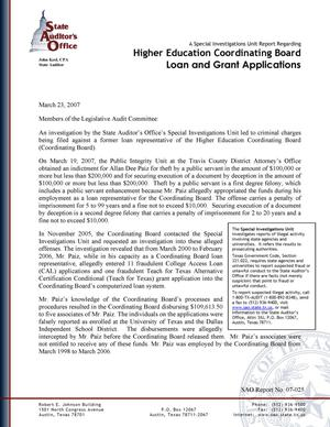A Special Investigations Unit Report Regarding Higher Education Coordinating Board Loan and Grant Applications