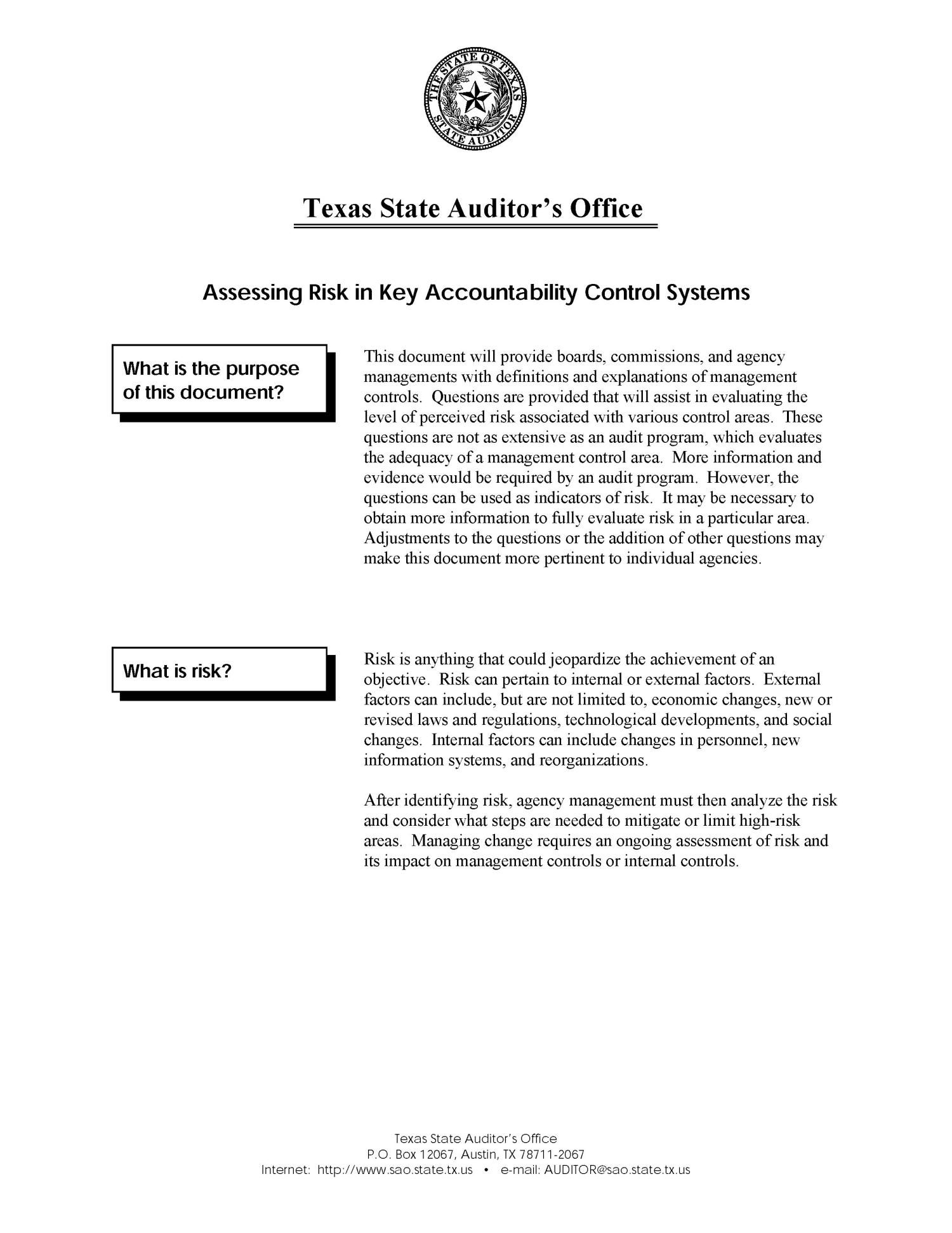 A Guide to Assessing Risk in Key Accountability Control Systems