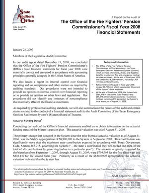 Primary view of object titled 'A Report on the Audit of the Office of the Fire Fighters' Pension Commissioner's Fiscal Year 2008 Financial Statements'.