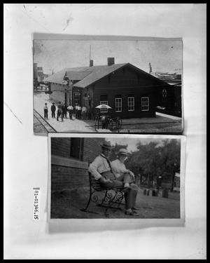 Primary view of object titled 'People at Railroad Depot; Two Men on Park Bench'.