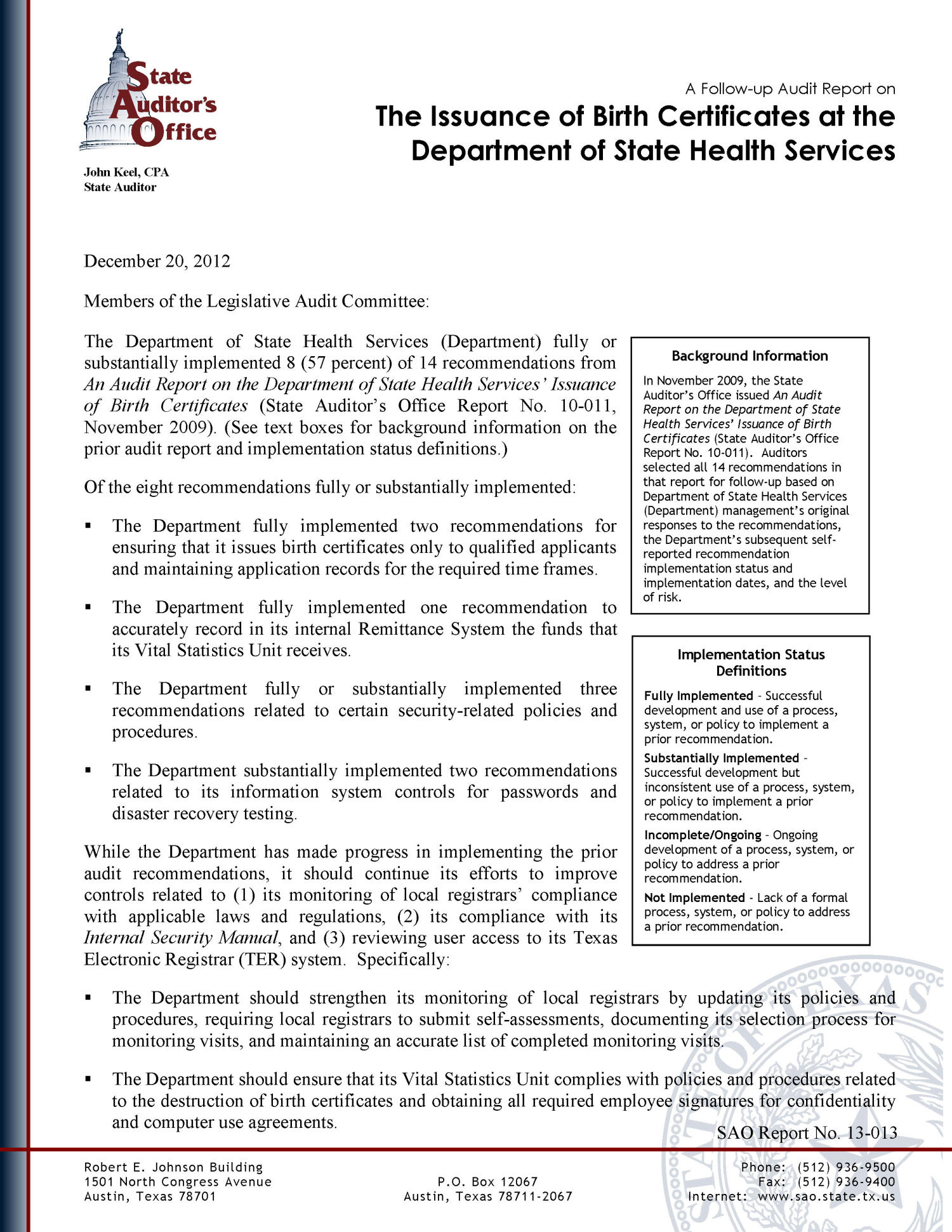 A follow up audit report on the issuance of birth certificates at a follow up audit report on the issuance of birth certificates at the department of state health services the portal to texas history aiddatafo Choice Image