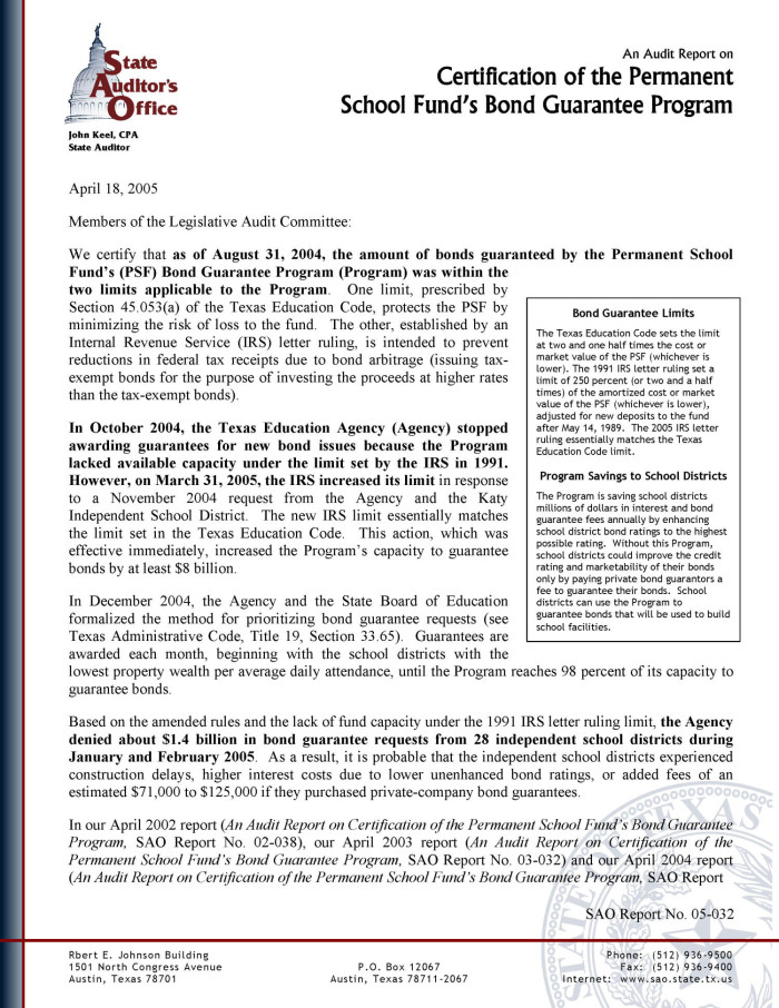 An Audit Report On Certification Of The Permanent School Funds Bond