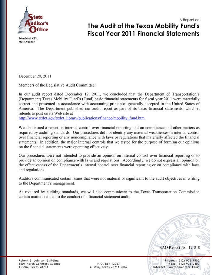 A Report on the Audit of the Texas Mobility Fund's Fiscal