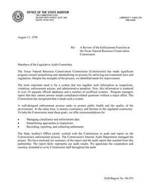 Primary view of A Review of the Enforcement Function at the Texas Natural Resource Conservation Commission