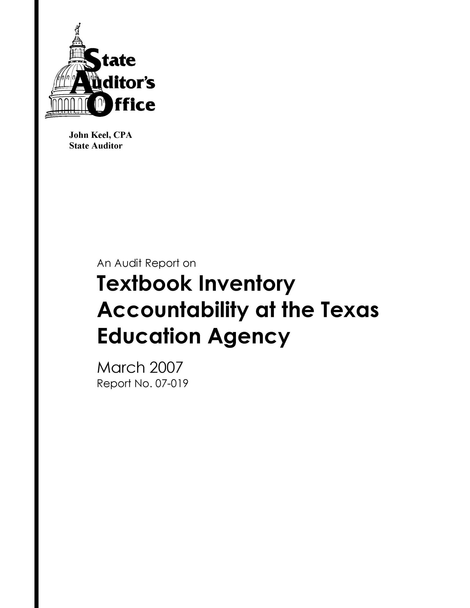 An Audit Report on Textbook Inventory Accountability at the