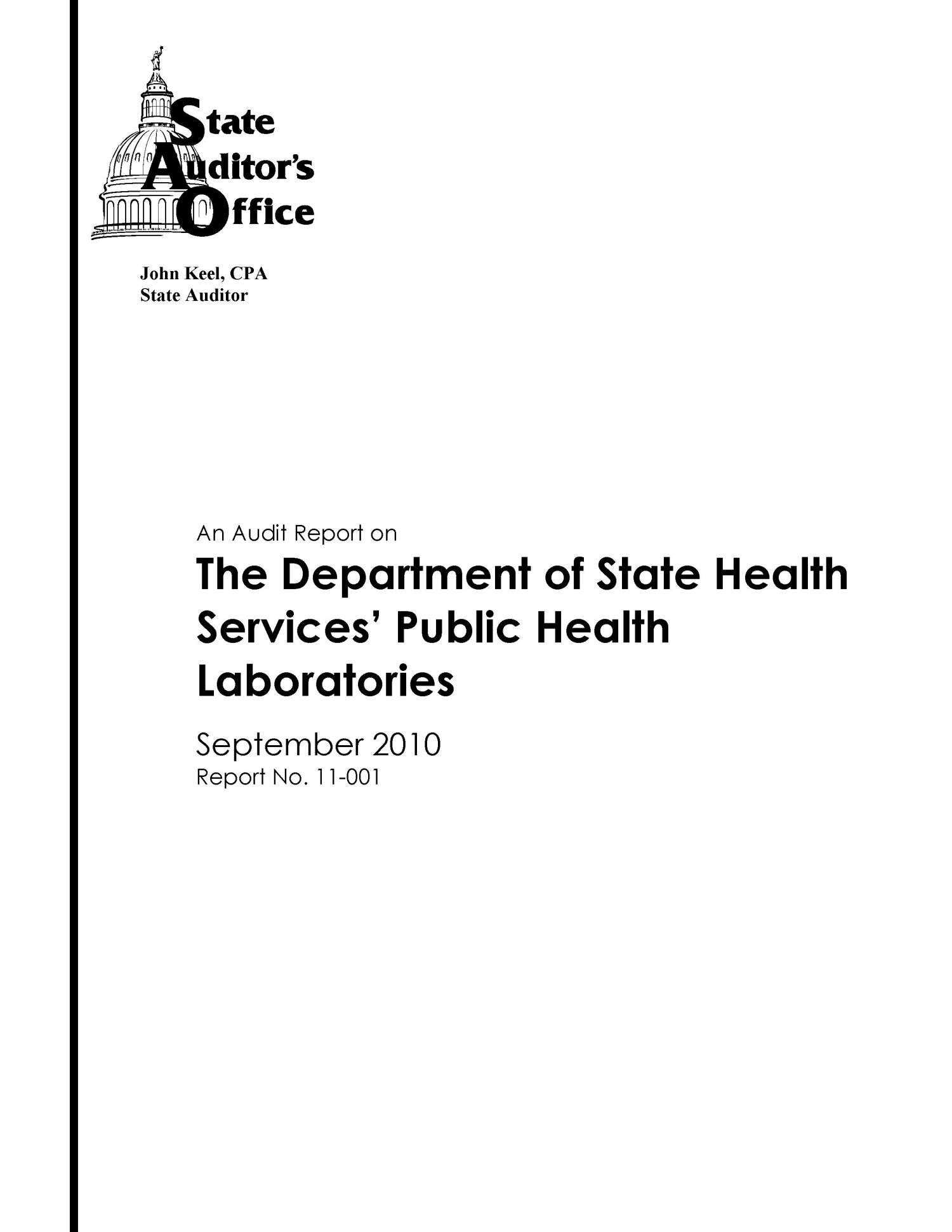 an audit report on the department of state health services public Self-Evaluation Audit an audit report on the department of state health services public health laboratories the portal to texas history