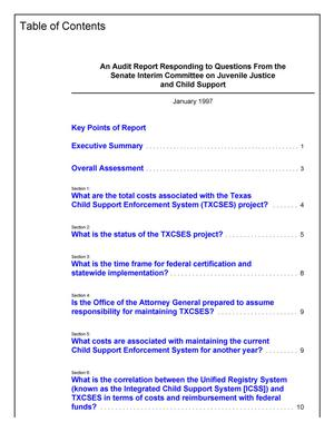 Primary view of object titled 'An Audit Report Responding to Questions From the Senate Interim Committee on Juvenile Justice and Child Support'.