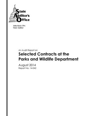 Primary view of object titled 'An Audit Report on Selected Contracts at the Parks and Wildlife Department'.
