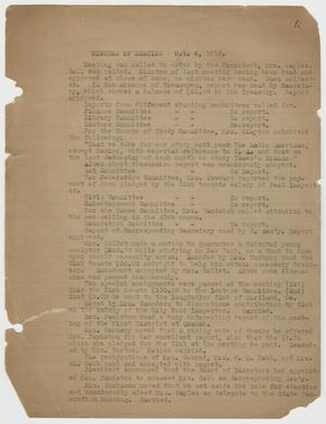 Primary view of object titled '[Woman's Wednesday Club Minutes, 1915-1916]'.