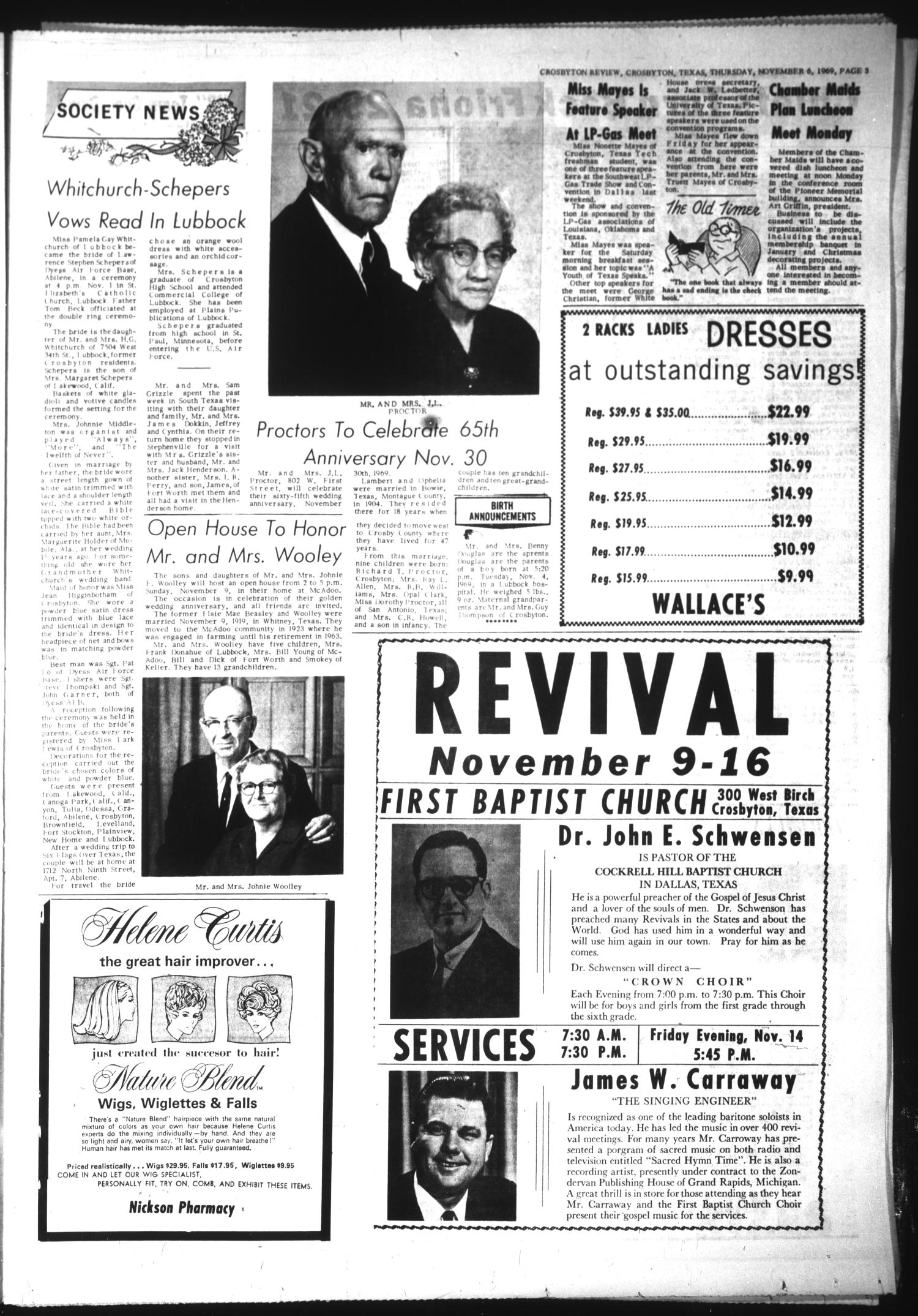 The Crosbyton Review (Crosbyton, Tex.), Vol. 61, No. 45, Ed. 1 Thursday, November 6, 1969                                                                                                      [Sequence #]: 3 of 10