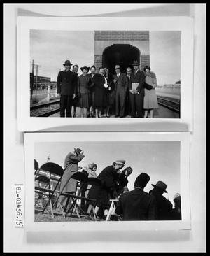 Primary view of object titled 'Men and Women at Railroad Station'.