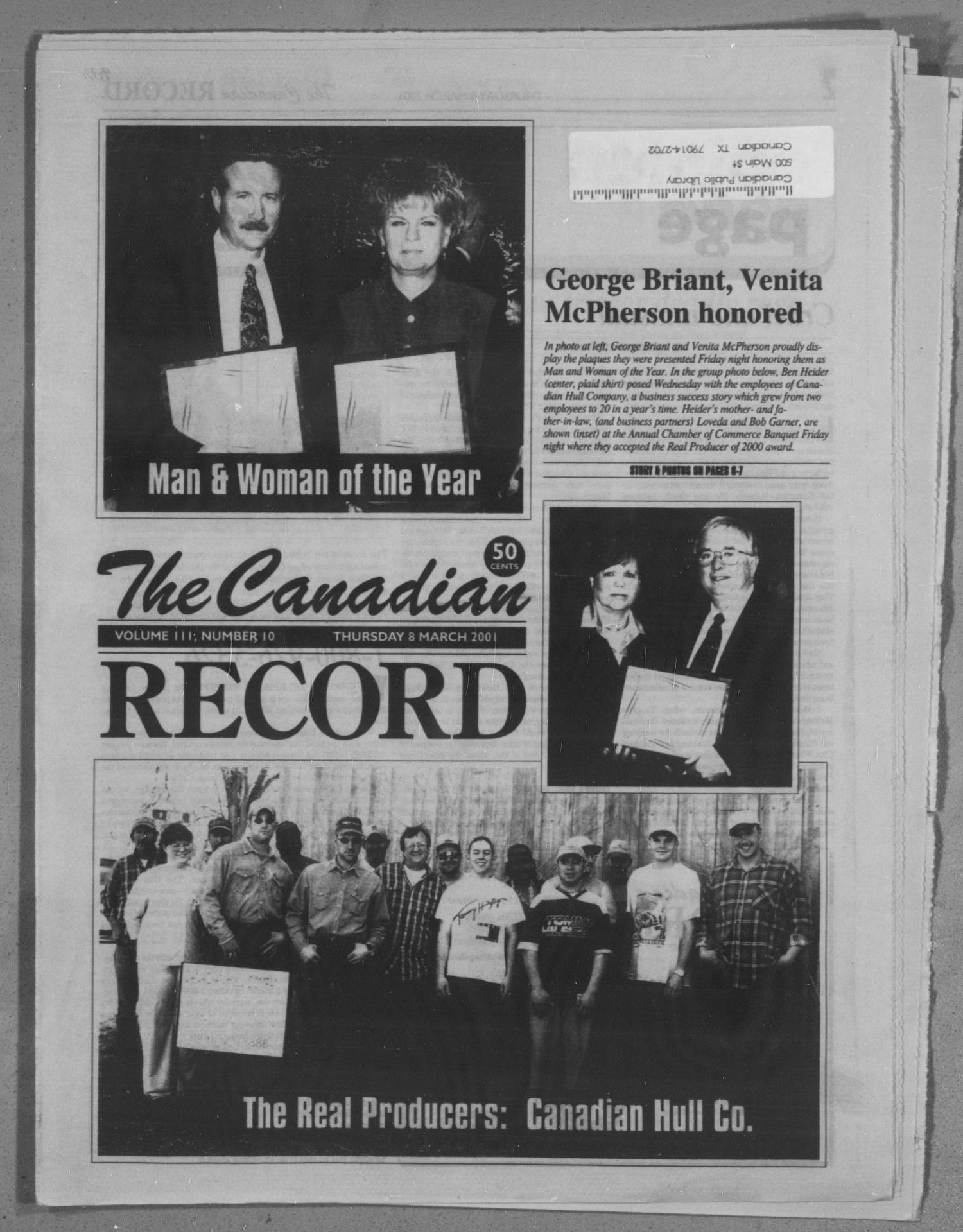 The Canadian Record (Canadian, Tex.), Vol. 3, No. 10, Ed. 1 Thursday, March 8, 2001                                                                                                      [Sequence #]: 1 of 28
