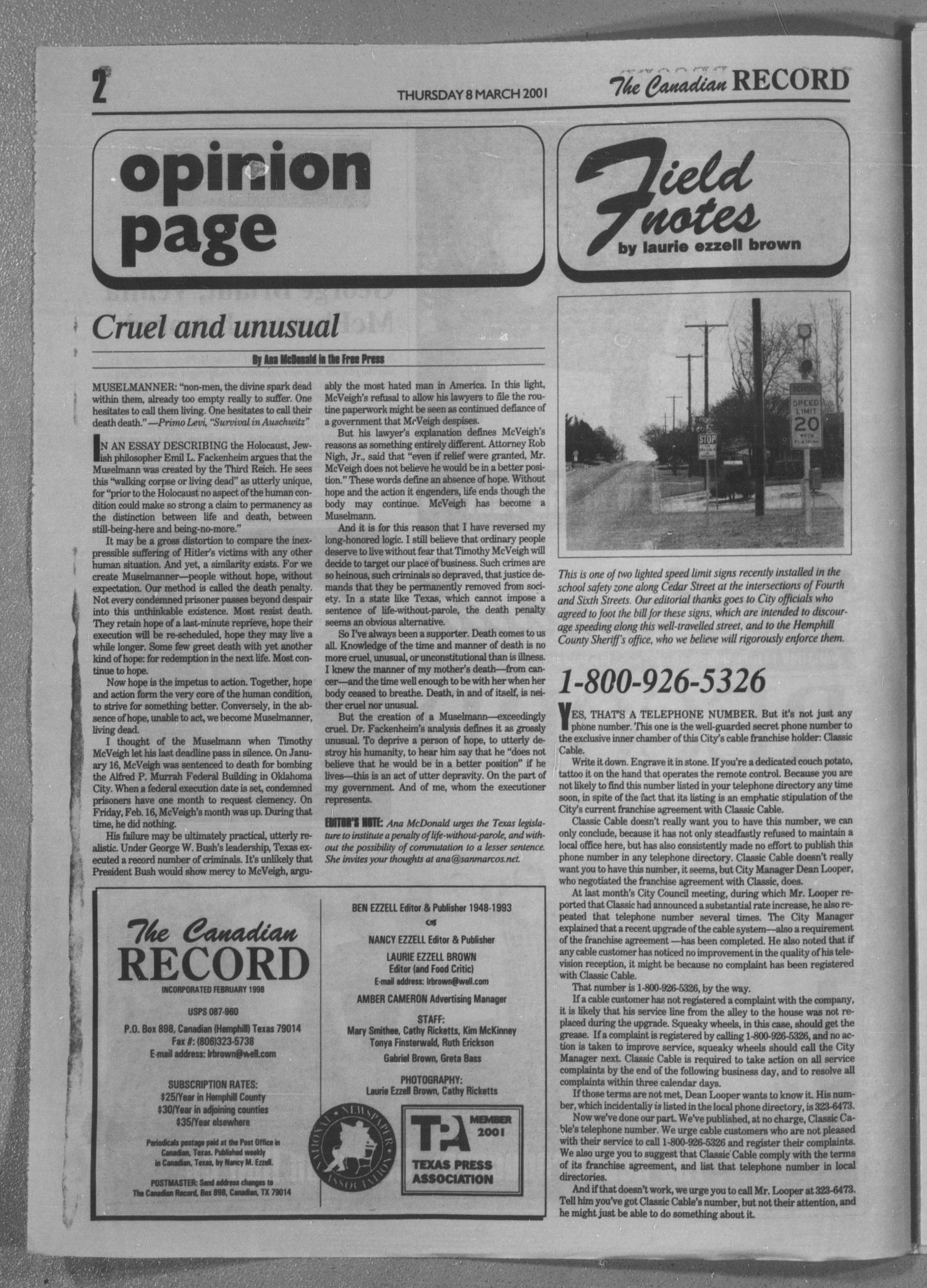 The Canadian Record (Canadian, Tex.), Vol. 3, No. 10, Ed. 1 Thursday, March 8, 2001                                                                                                      [Sequence #]: 2 of 28