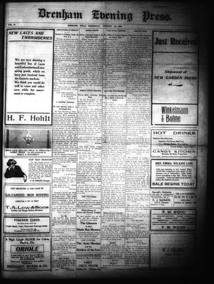 Primary view of Brenham Evening Press. (Brenham, Tex.), Vol. 15, No. 210, Ed. 1 Wednesday, January 27, 1909