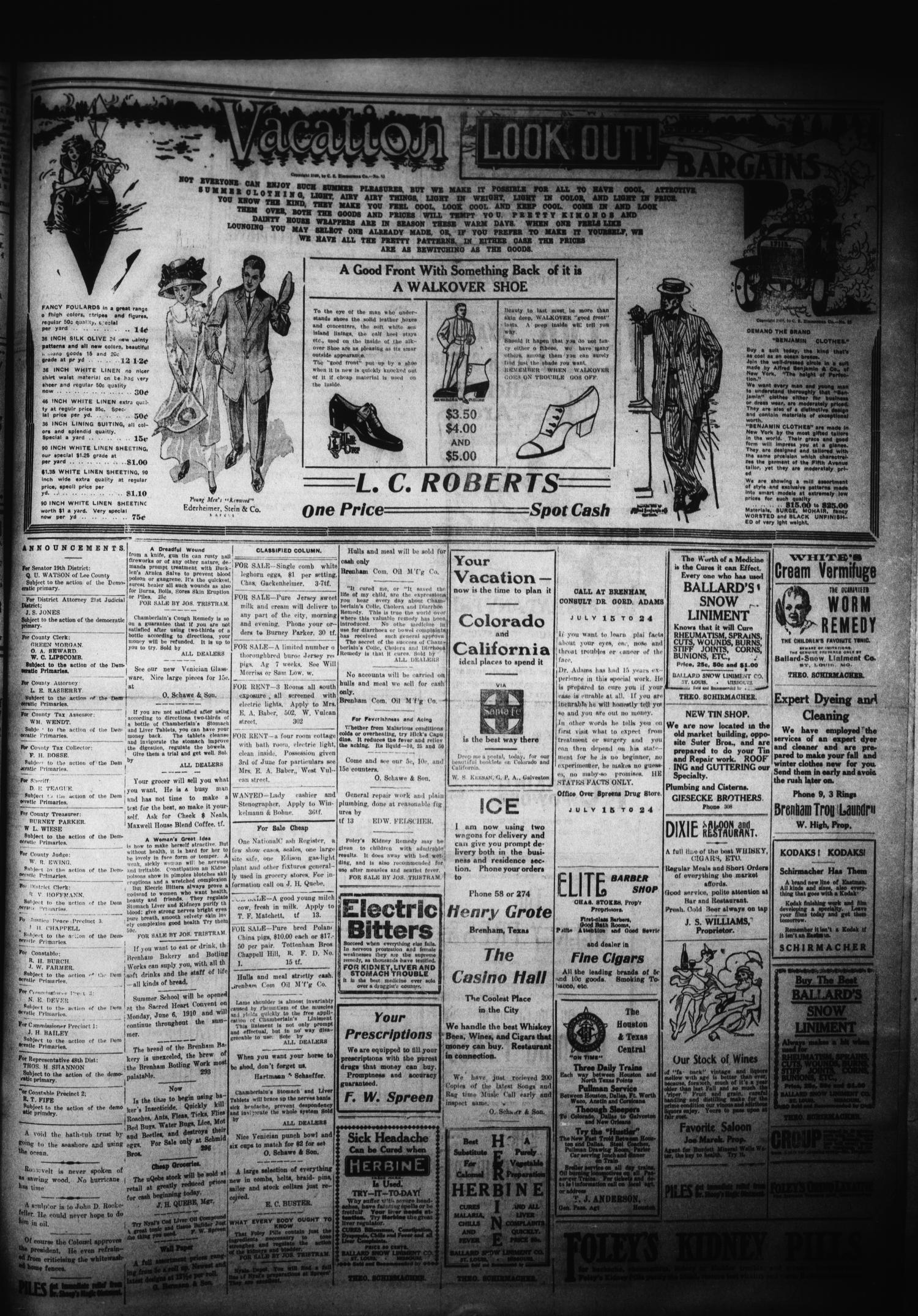 Brenham Evening Press. (Brenham, Tex.), Vol. 17, No. 51, Ed. 1 Thursday, June 30, 1910                                                                                                      [Sequence #]: 3 of 4