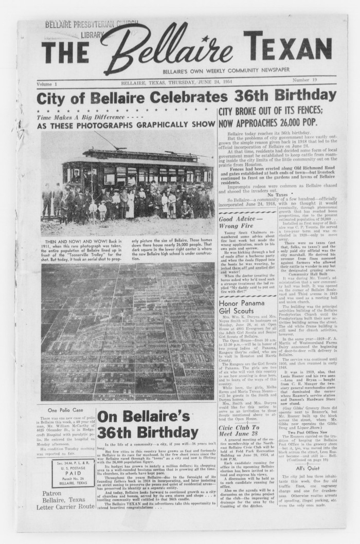 First page of: The Bellaire Texan (Bellaire, Tex.), Vol. 1, No. 19, Ed. 1 Thursday, June 24, 1954, a newspaper available in the The Portal to Texas History