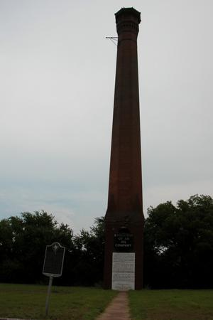 Red-brick smokestack of the Texas Pacific Coal and Oil Company, Thurber