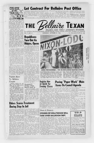 Primary view of object titled 'The Bellaire Texan (Bellaire, Tex.), Vol. 7, No. 31, Ed. 1 Wednesday, September 21, 1960'.