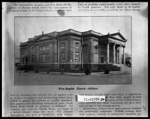 Primary view of object titled 'Exterior of First Baptist Church'.