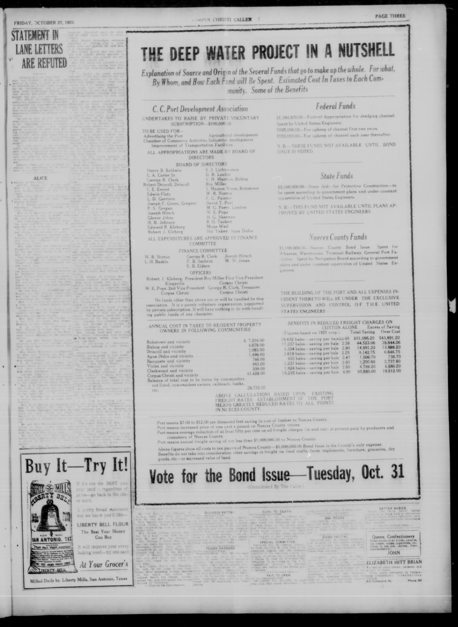 Corpus Christi Caller (Corpus Christi, Tex.), Vol. 23, No. 244, Ed. 1 Friday, October 27, 1922                                                                                                      [Sequence #]: 3 of 8