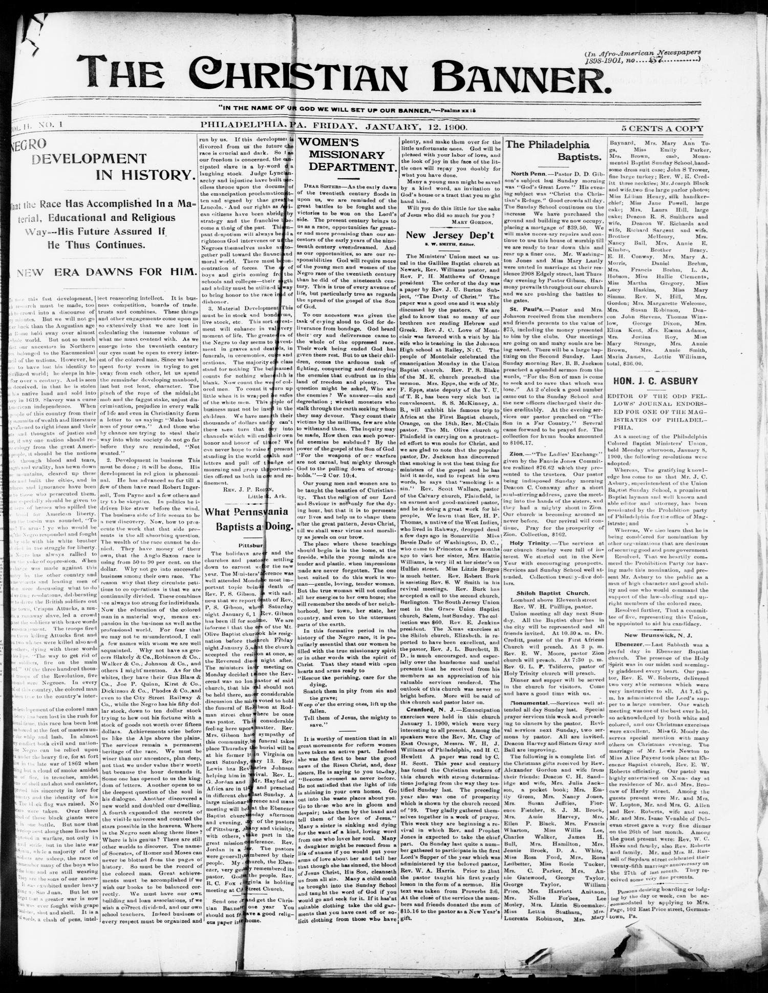 The Christian Banner. (Philadelphia, Pa.), Vol. 2, No. 1, Ed. 1 Friday, January 12, 1900                                                                                                      [Sequence #]: 1 of 4