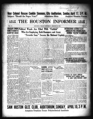 Primary view of The Houston Informer (Houston, Tex.), Vol. 2, No. 45, Ed. 1 Saturday, March 26, 1921