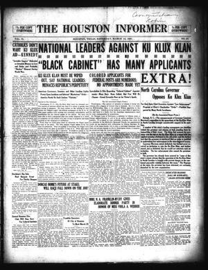 Primary view of The Houston Informer (Houston, Tex.), Vol. 2, No. 43, Ed. 1 Saturday, March 12, 1921