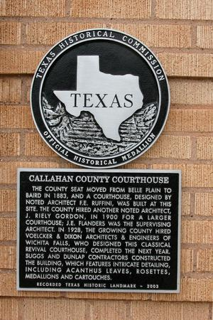 Historic plaque - Callahan County Courthouse