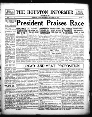 Primary view of The Houston Informer (Houston, Tex.), Vol. 5, No. 34, Ed. 1 Saturday, January 12, 1924