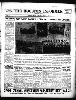 Primary view of The Houston Informer (Houston, Tex.), Vol. 5, No. 42, Ed. 1 Saturday, March 8, 1924
