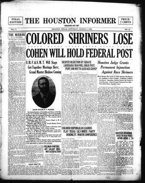 Primary view of The Houston Informer (Houston, Tex.), Vol. 5, No. 41, Ed. 1 Saturday, March 1, 1924