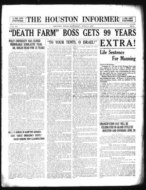 Primary view of The Houston Informer (Houston, Tex.), Vol. 3, No. 4, Ed. 1 Saturday, June 11, 1921
