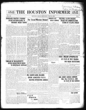 Primary view of The Houston Informer (Houston, Tex.), Vol. 3, No. 1, Ed. 1 Saturday, May 21, 1921