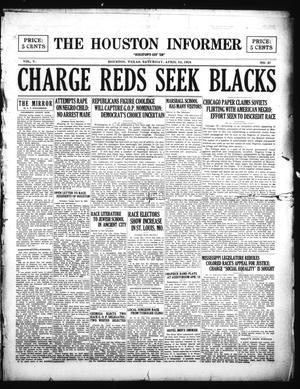 Primary view of The Houston Informer (Houston, Tex.), Vol. 5, No. 47, Ed. 1 Saturday, April 12, 1924