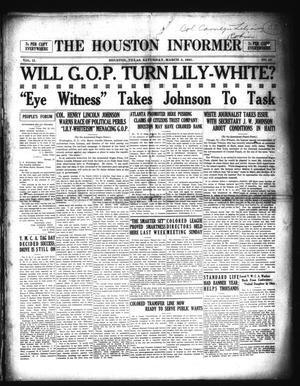 Primary view of The Houston Informer (Houston, Tex.), Vol. 2, No. 42, Ed. 1 Saturday, March 5, 1921
