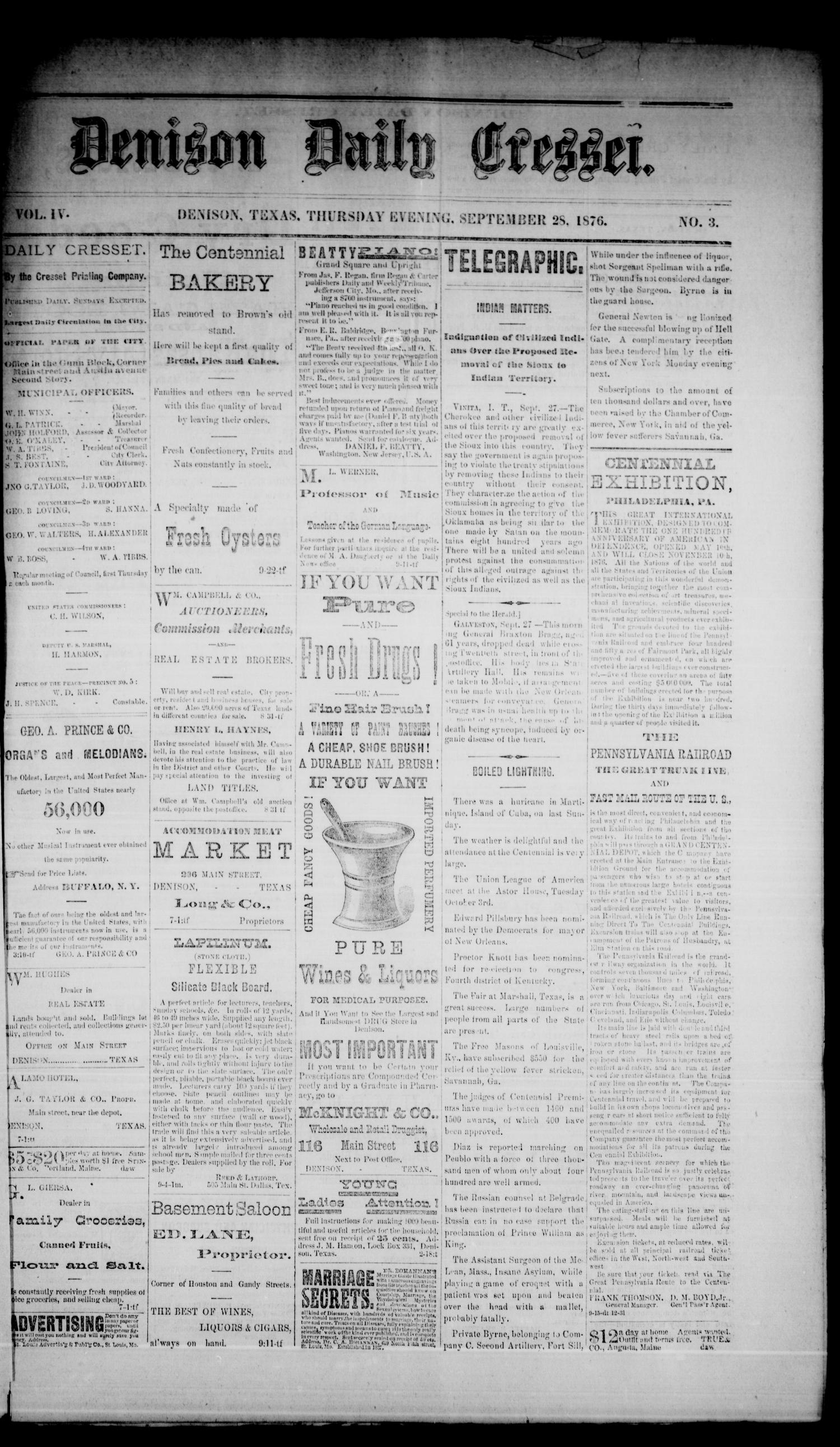 Denison Daily Cresset. (Denison, Tex.), Vol. 4, No. 3, Ed. 1 Thursday, September 28, 1876                                                                                                      [Sequence #]: 1 of 4