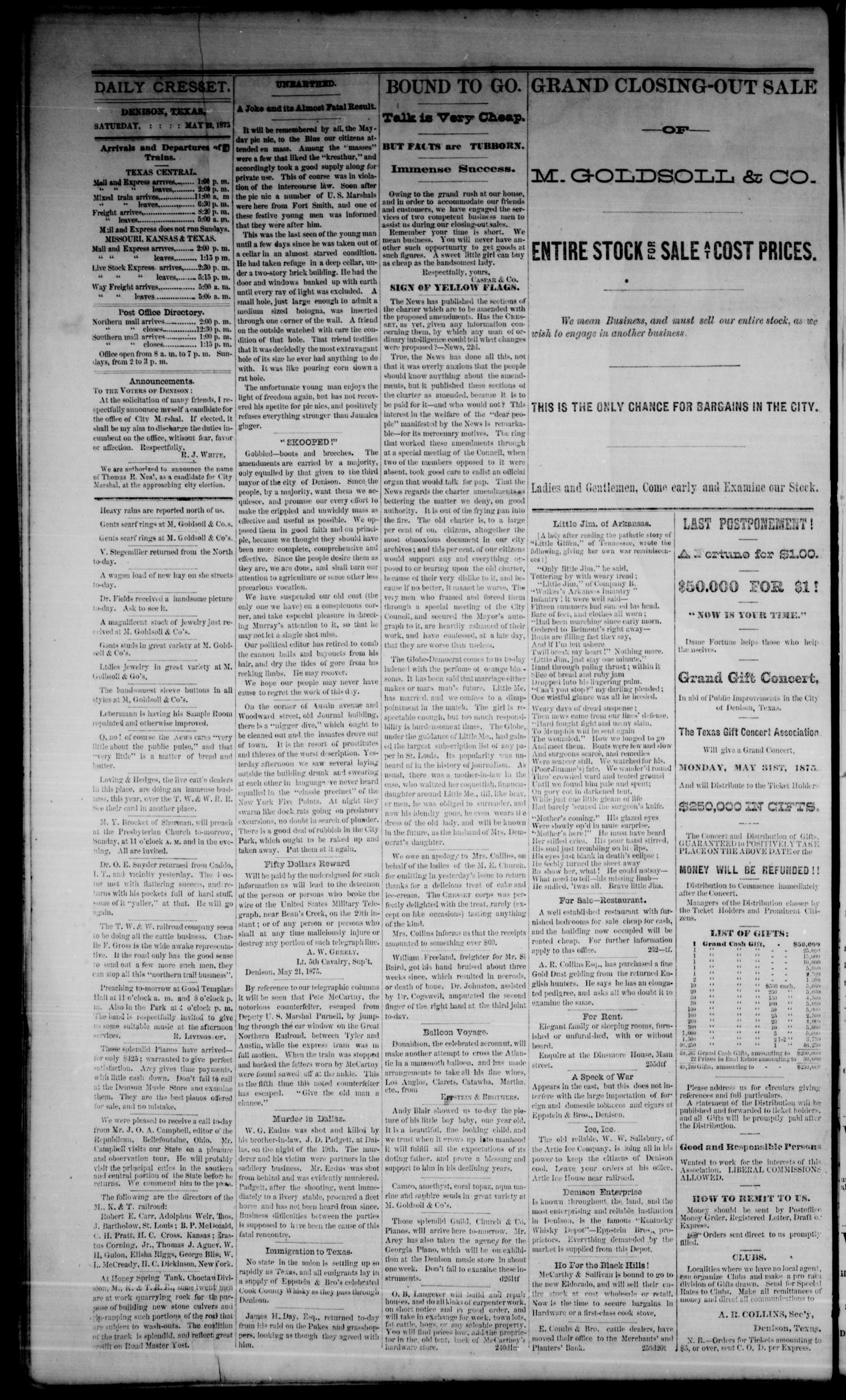 Denison Daily Cresset. (Denison, Tex.), Vol. 1, No. 263, Ed. 1 Saturday, May 22, 1875                                                                                                      [Sequence #]: 4 of 4