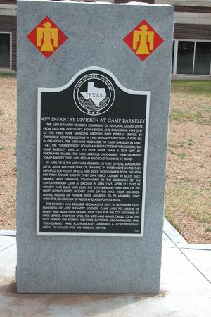 Historic plaque - 45th Infantry Division at Camp Barkeley
