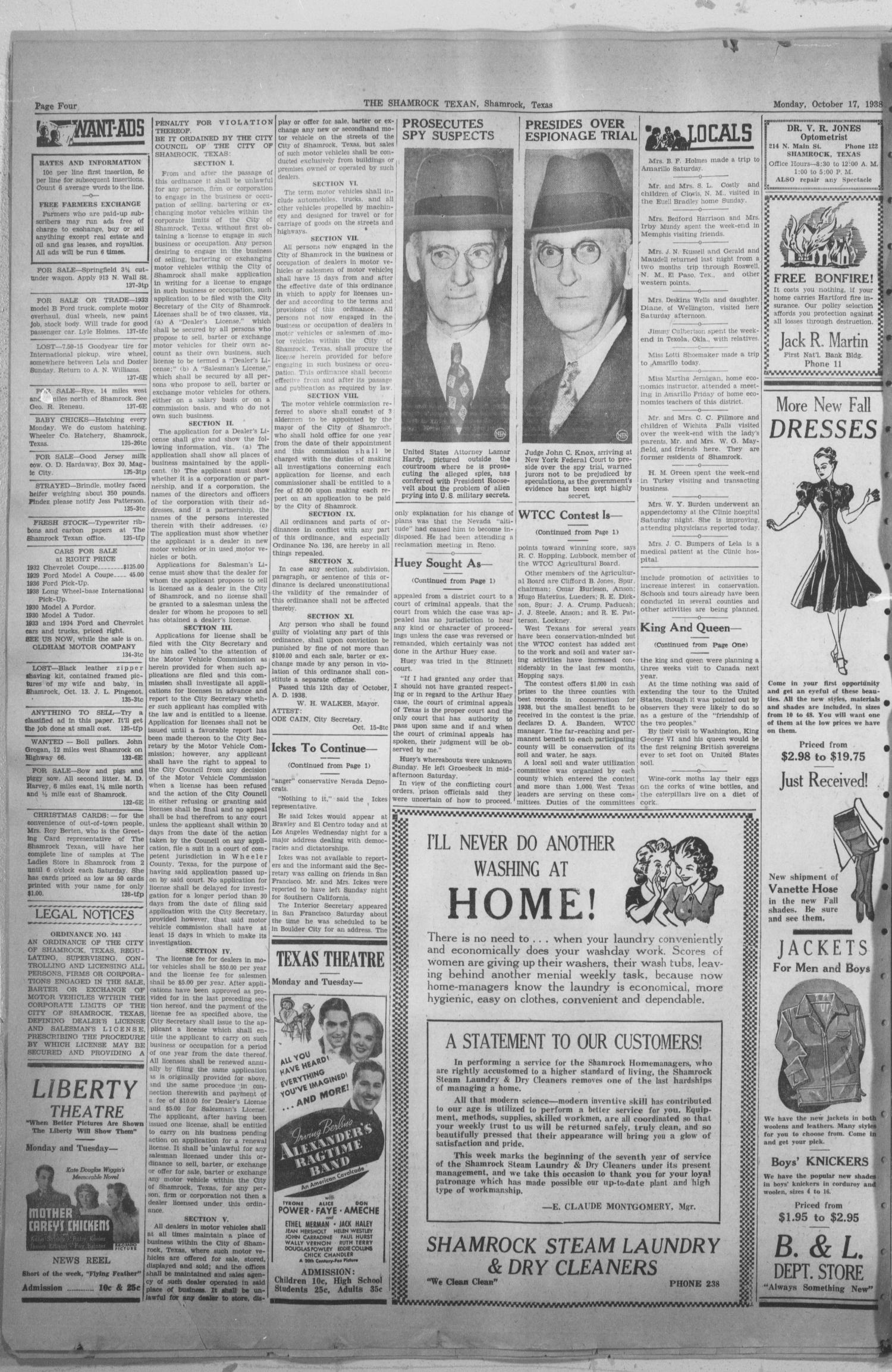The Shamrock Texan (Shamrock, Tex.), Vol. 35, No. 137, Ed. 1 Monday, October 17, 1938                                                                                                      [Sequence #]: 4 of 4