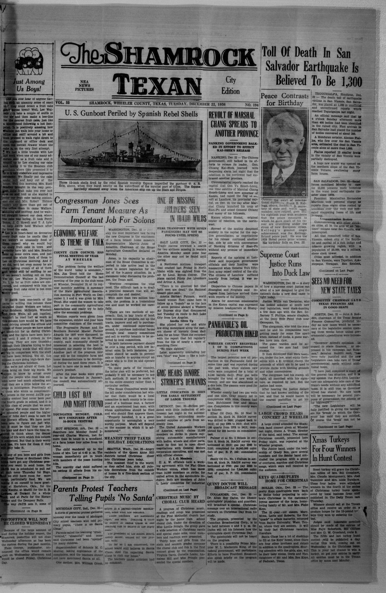 The Shamrock Texan (Shamrock, Tex.), Vol. 33, No. 194, Ed. 1 Tuesday, December 22, 1936                                                                                                      [Sequence #]: 1 of 4