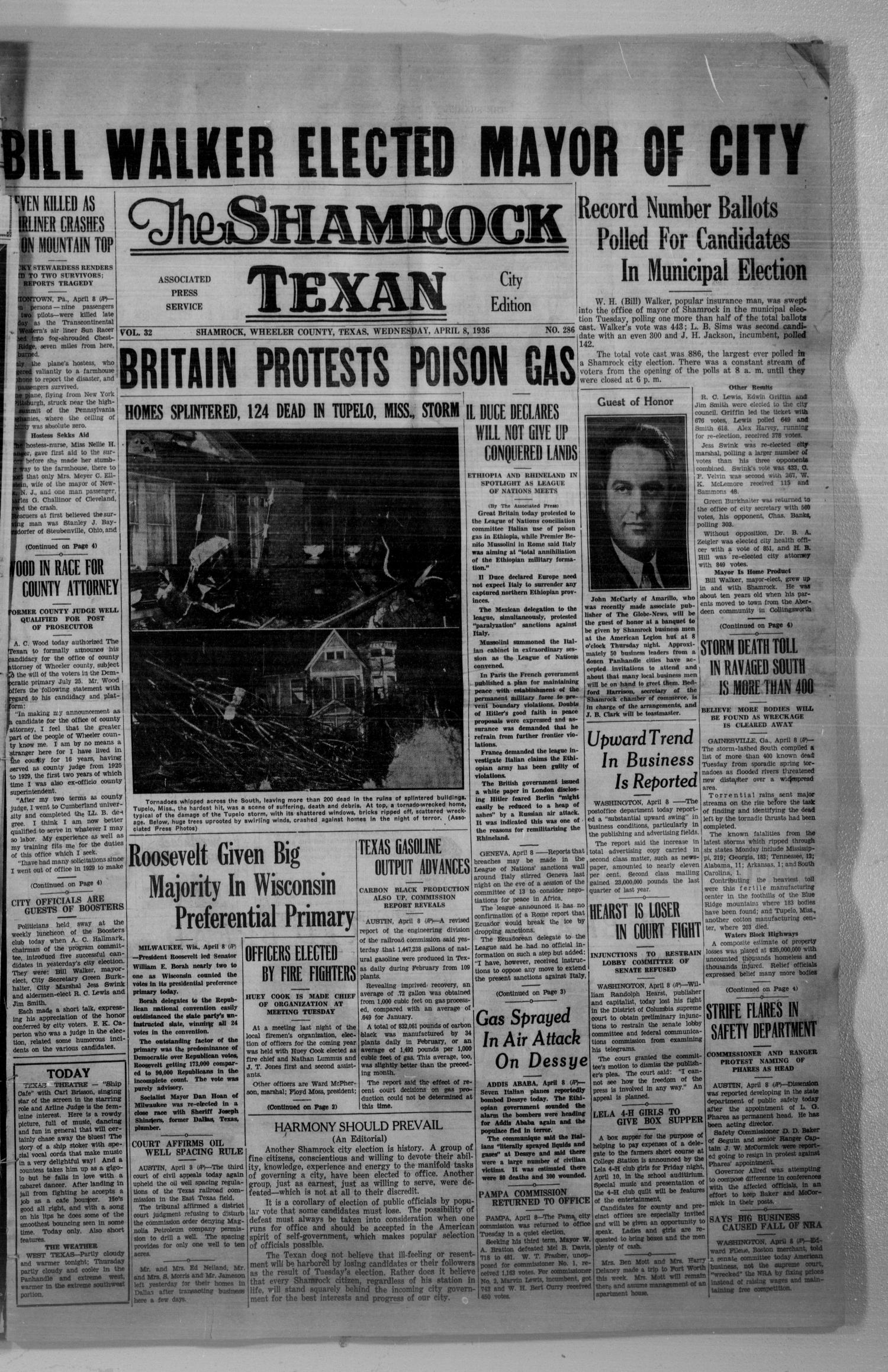 The Shamrock Texan (Shamrock, Tex.), Vol. 32, No. 286, Ed. 1 Wednesday, April 8, 1936                                                                                                      [Sequence #]: 1 of 4