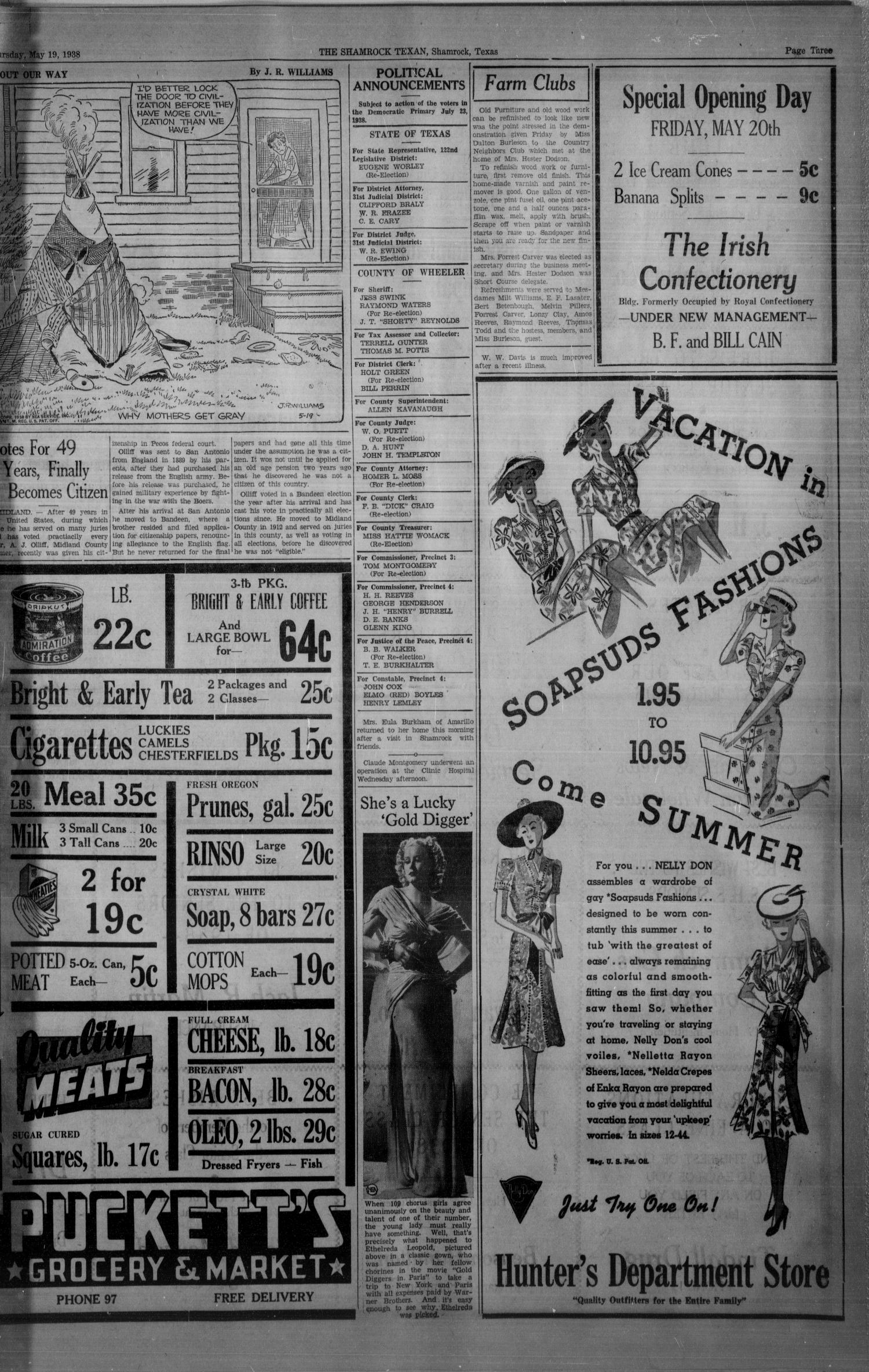 The Shamrock Texan (Shamrock, Tex.), Vol. 35, No. 9, Ed. 1 Thursday, May 19, 1938                                                                                                      [Sequence #]: 3 of 8