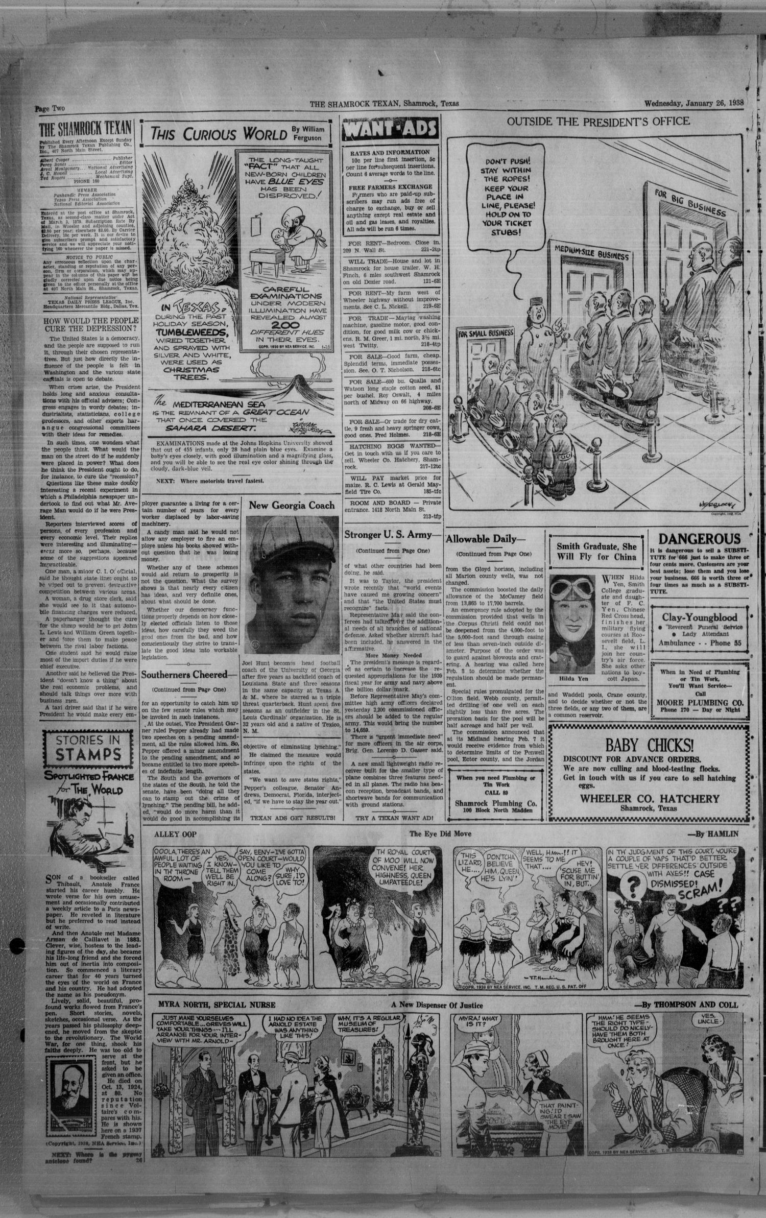 The Shamrock Texan (Shamrock, Tex.), Vol. 34, No. 221, Ed. 1 Wednesday, January 26, 1938                                                                                                      [Sequence #]: 2 of 4