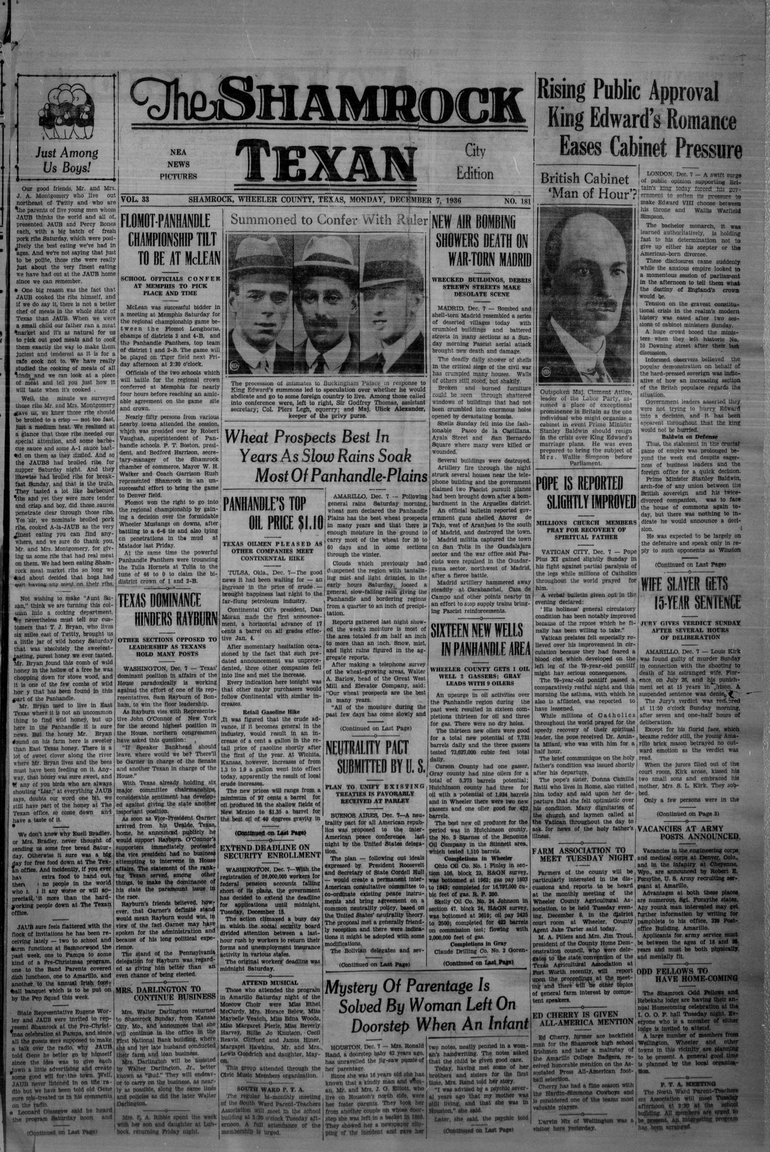The Shamrock Texan (Shamrock, Tex.), Vol. 33, No. 181, Ed. 1 Monday, December 7, 1936                                                                                                      [Sequence #]: 1 of 4