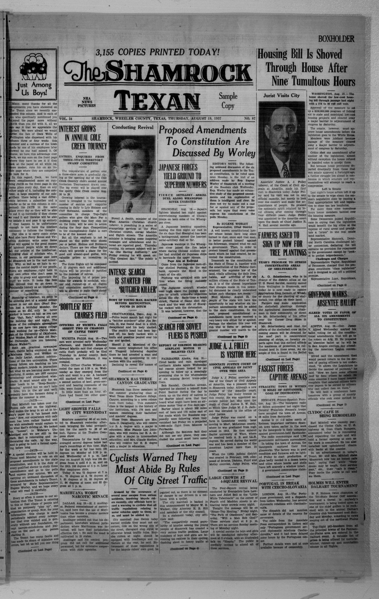 The Shamrock Texan (Shamrock, Tex.), Vol. 34, No. 87, Ed. 1 Thursday, August 19, 1937                                                                                                      [Sequence #]: 1 of 8