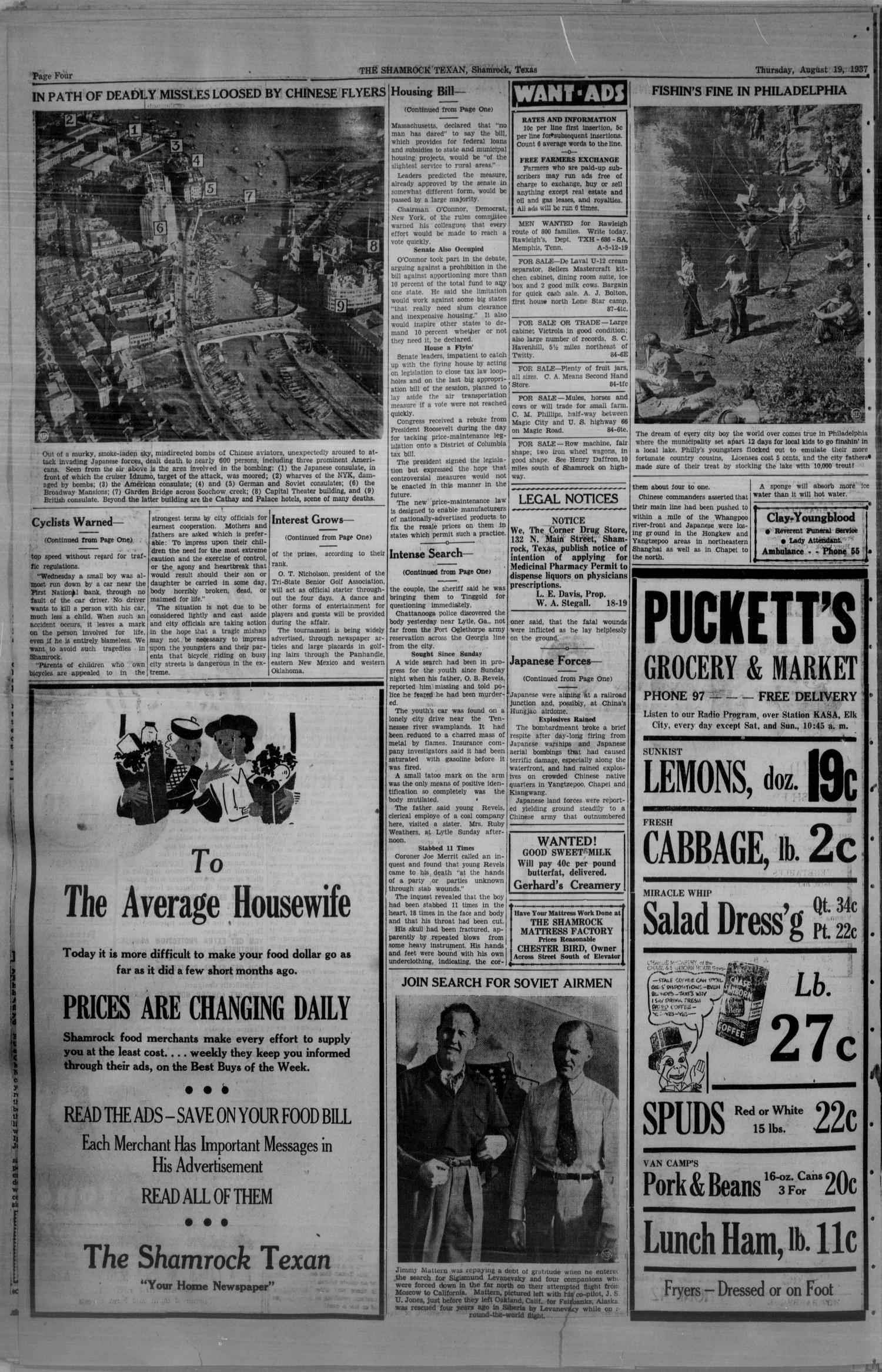 The Shamrock Texan (Shamrock, Tex.), Vol. 34, No. 87, Ed. 1 Thursday, August 19, 1937                                                                                                      [Sequence #]: 4 of 8
