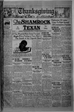Primary view of object titled 'The Shamrock Texan (Shamrock, Tex.), Vol. 33, No. 172, Ed. 1 Wednesday, November 25, 1936'.