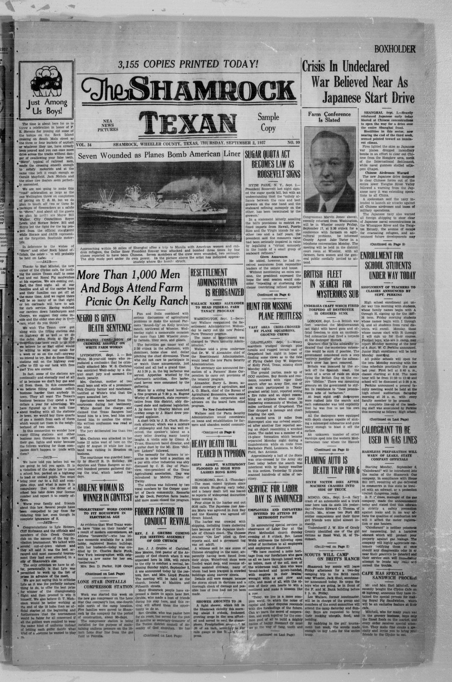 The Shamrock Texan (Shamrock, Tex.), Vol. 34, No. 99, Ed. 1 Thursday, September 2, 1937                                                                                                      [Sequence #]: 1 of 8