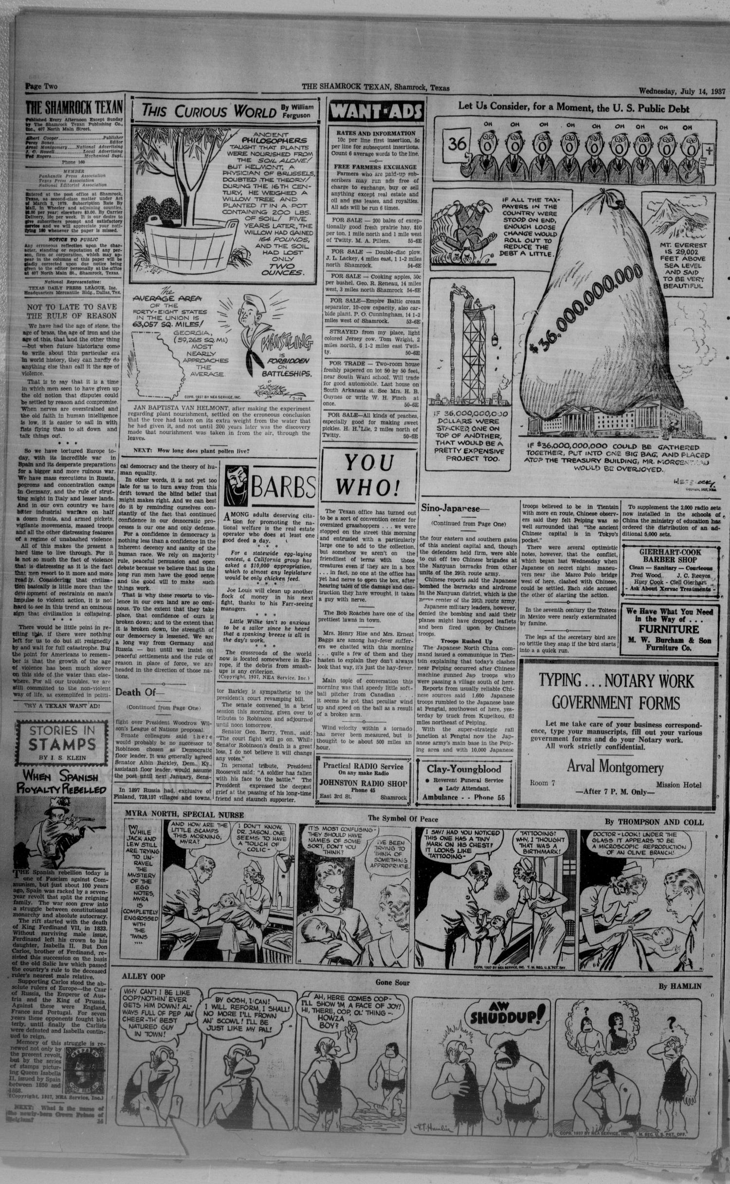 The Shamrock Texan (Shamrock, Tex.), Vol. 34, No. 56, Ed. 1 Wednesday, July 14, 1937                                                                                                      [Sequence #]: 2 of 4