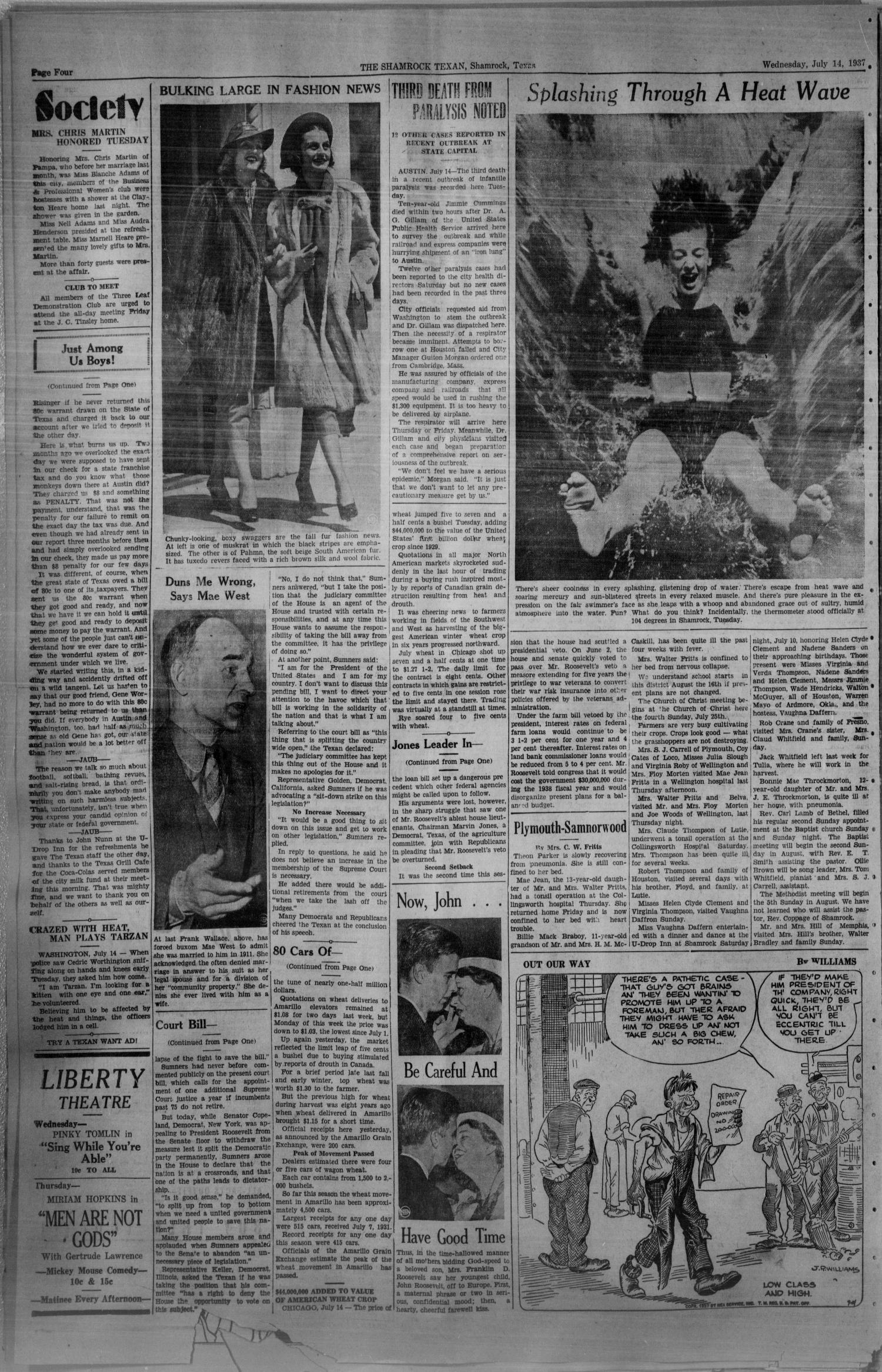 The Shamrock Texan (Shamrock, Tex.), Vol. 34, No. 56, Ed. 1 Wednesday, July 14, 1937                                                                                                      [Sequence #]: 4 of 4